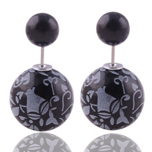 8 Colors Brand New Printing Pattern Double Sides Big Pearl Stud Earrings Classic Graffiti Bead Ball Ear Stud Earrings For Women