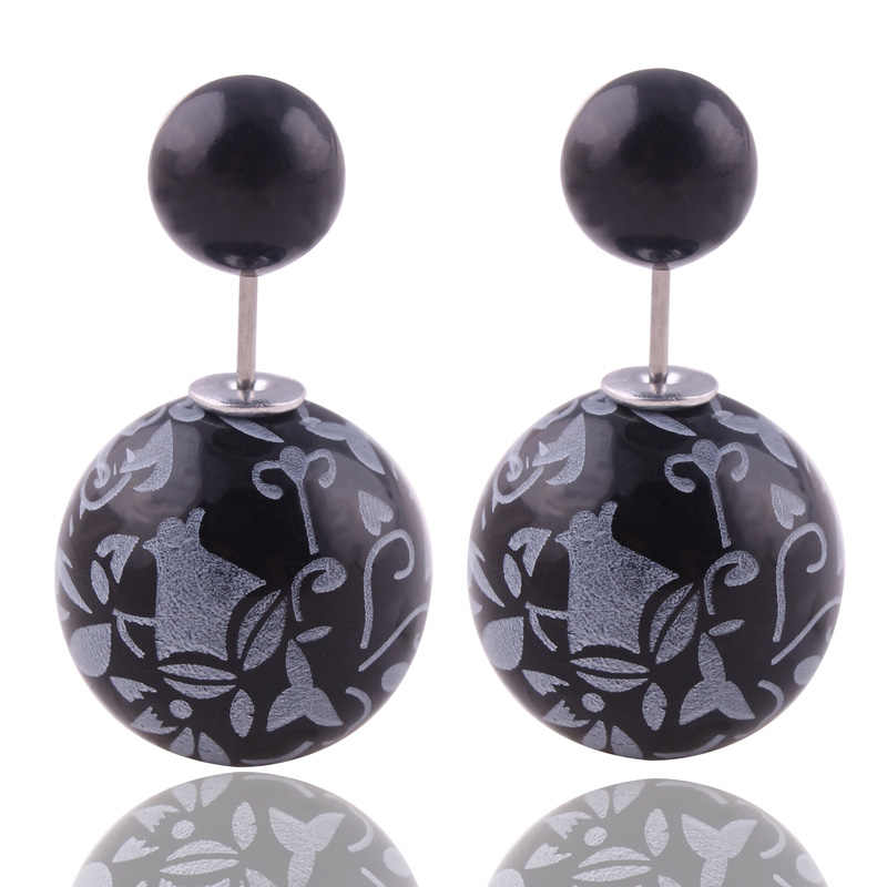 8 Farben Marke Neue Druck Muster Doppel Seiten Große Perle Ohrstecker Klassischen Graffiti Perle Kugel Ohrstecker Ohrringe Für frauen