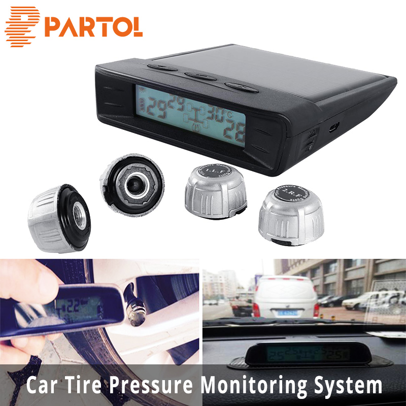 Partol Black Car Tire Pressure Automatic Monitoring System With LED Digital Flash Alarm USB interface Automatically Alarm Buzzer partol usb charging