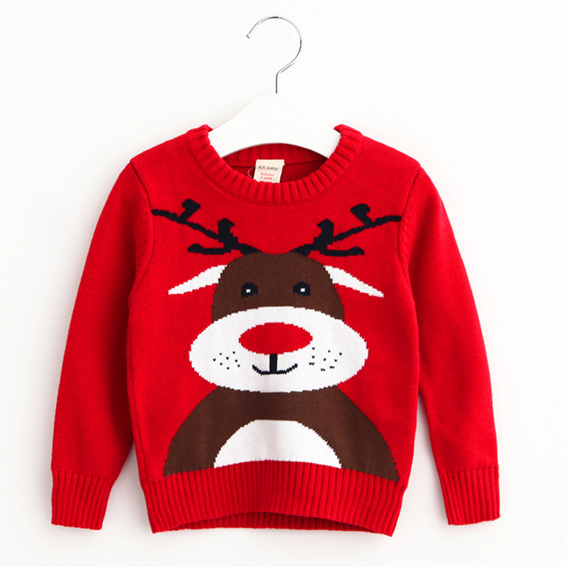 Baby Boys Girls Christmas Gift Knitted Sweaters O Neck Cartoon Elk