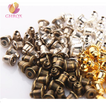 GHRQX Gold /Sliver Metal Bullet Earring Backs Jewelry Findings Wholesale DIY Earrings Jewelry Making Accessories 100 pcs