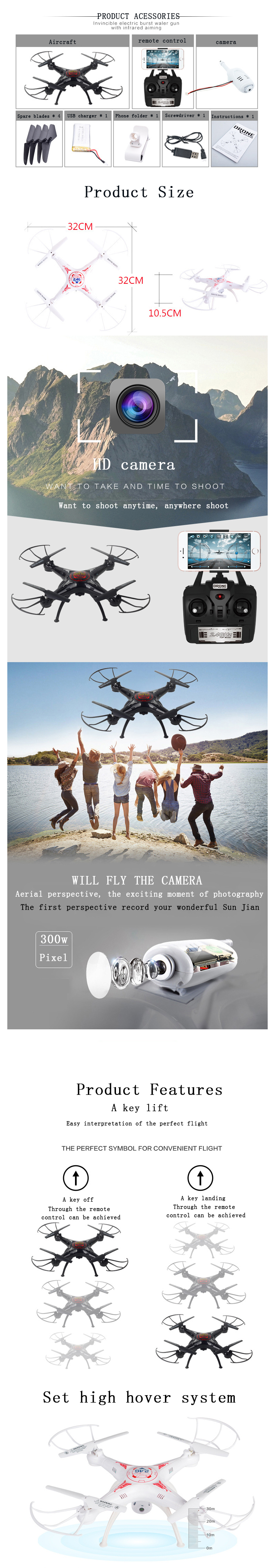 3MP RC Drone FPV RC Quadcopter mini Drone with Camera 2.4G 6-Axis RC Helicopter Drones With Camera HD dron aircraft 4