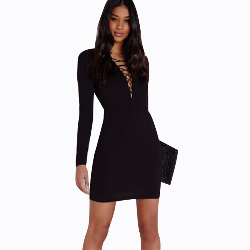 30b8c8702c5a New Fall Fashion Women Long Sweater Dress V Neck Front Lace Up Sexy Bodycon  Dresses-in Dresses from Women s Clothing on Aliexpress.com