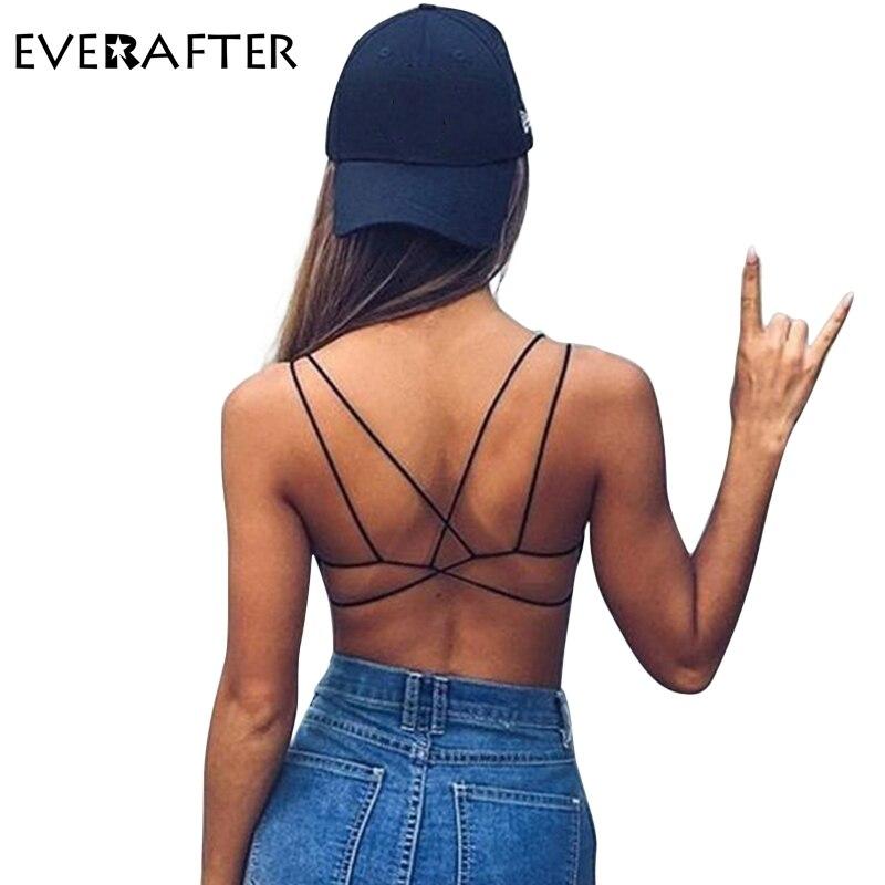 EVERAFTER Sexy Crop Top Women Crisscross strap tops camisole 2018 Summer hot sale camis slim black bralette vest fitness Bralet