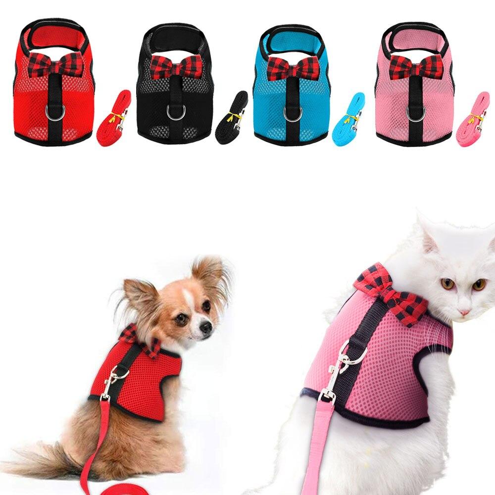 Helder Ademend Kat Harnas Hond Huisdier Vest Hamster Konijn Borstband Verstelbare Bowtie Mesh Kleine Puppy Kitten Harness Leash Supplies Geurig Aroma