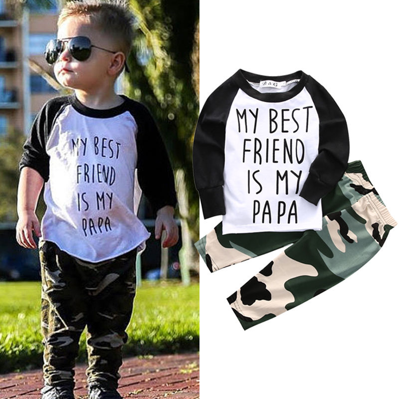 Infant Baby Clothing Suits Boys Kleding My Best Friend PaPa Tops+Camouflage Pants Newborn Clothing Fashion Sets image