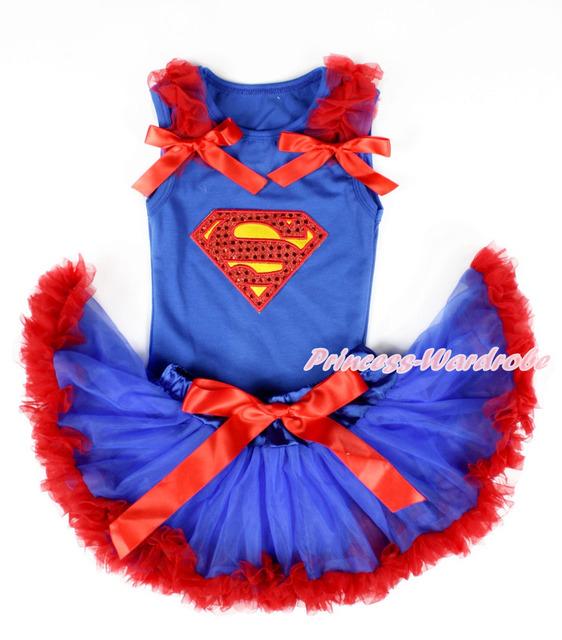 Royal Blue bebé Pettitop con Sparkle Red Superman imprimir, Red Ruffles & Red Bows con azul real rojo recién Pettiskirt MANG1327