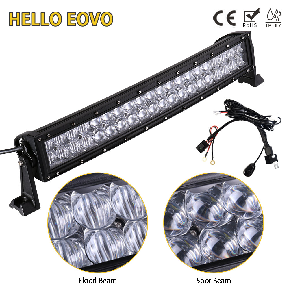 HELLO EOVO 5D 22 Inch Curved LED Light Bar for Work Driving Offroad Boat Car Tractor Truck 4x4 SUV ATV with Switch Wiring Kit auxbeam 54 312w 5d cree led light bar combo curved offroad led bar 2pcs 60w 5 led driving light for jeep truck atv suv