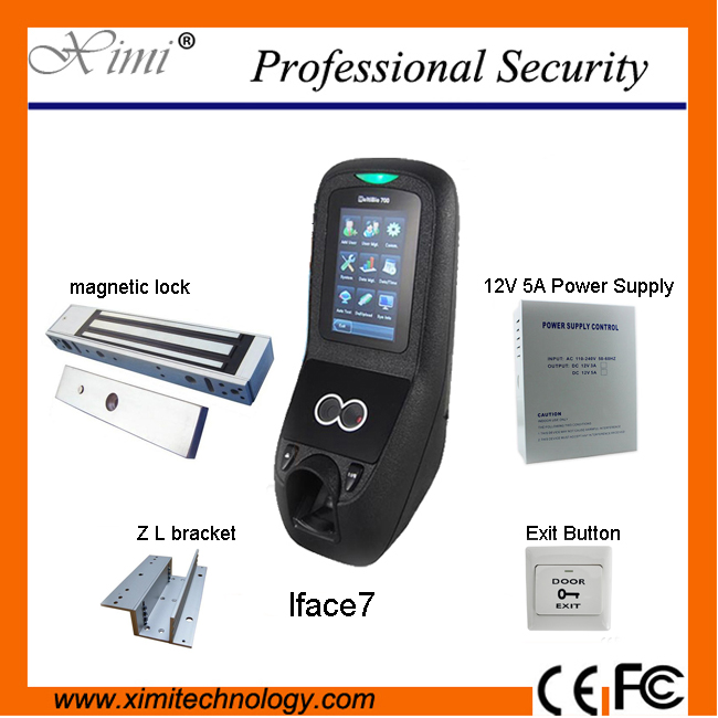 Access control kit ZK Iface7 face&fingerprint access control with power supply, magnetic lock and metal exit button,bracket