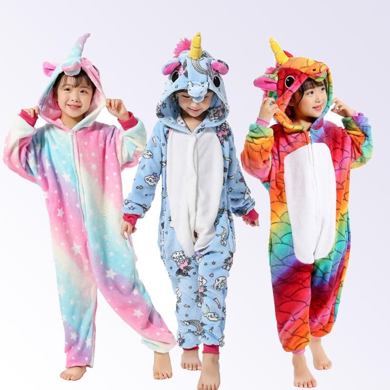 3245230a30 Delle Ragazze dei ragazzi Pigiama Unicorn Kigurumi Flanella Animale Cosplay  Bambini Pigiama Tute monopezzo di Inverno