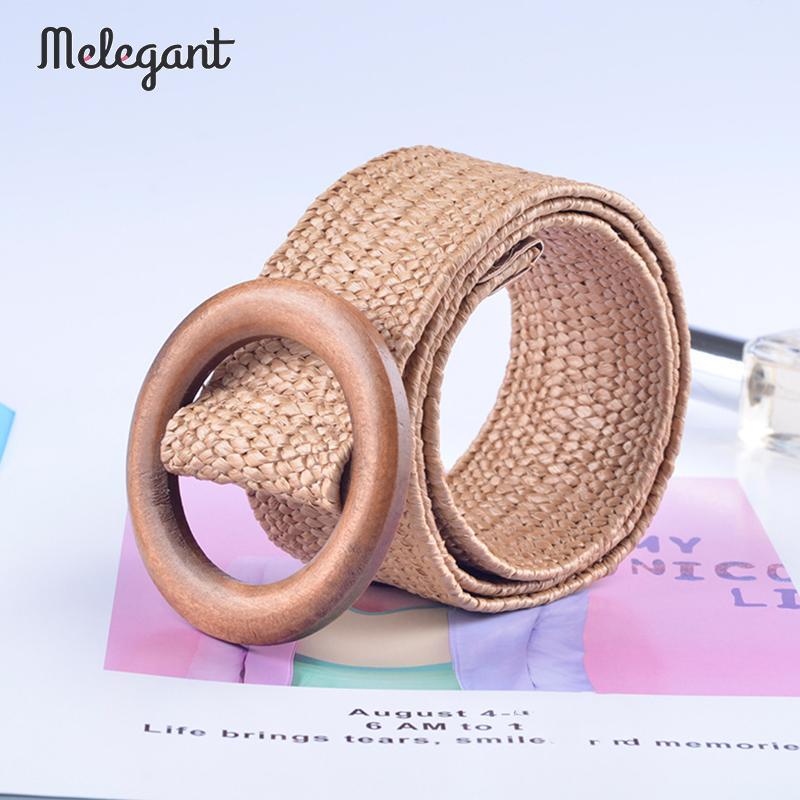 Melegant Wooden Button   Belt   For Women Sexy Casual Female   Belt   Accessories Elastic Straw   Belt   Decoration for Dress   Belts