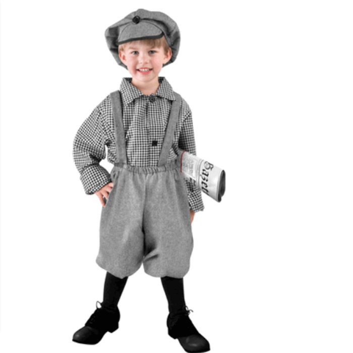 Child Toddler Deluxe 50s Old Fashion Newsboy Cosplay Costume Boys Halloween Fun Suit