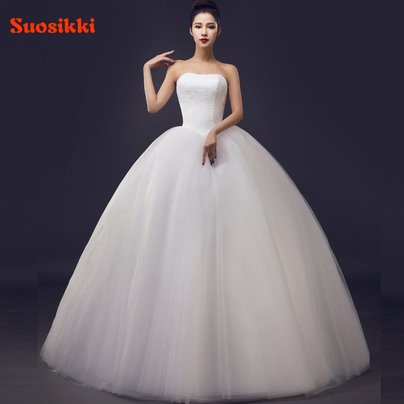 Custom Made Wedding Dresses 2017 Cheap Celebrity Strapless White Tulle Bridal Ball Gown Lace Bridal Gown