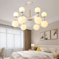 LED Chandelier For Living Room Modern White Lustre Wooden Bedroom Lighting Simple Surface Mounted Chandeliers