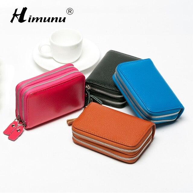 a10ac999804b0 Podwójny zamek karty portfele kobiety posiadacz karty kredytowej prawdziwej  skóry mody luksusowa poduszka portfele damskie portfel
