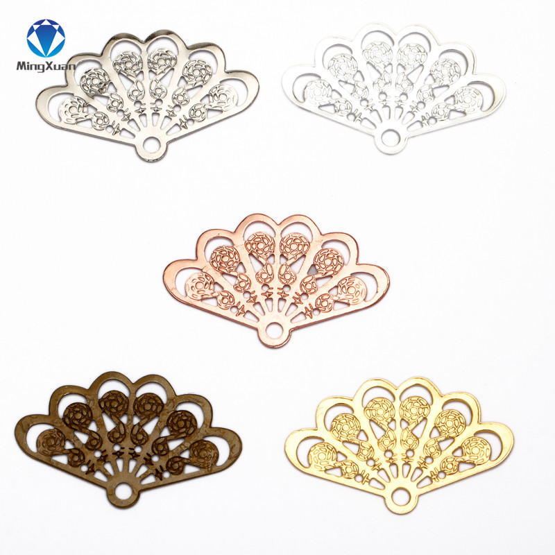 MINGXUAN 20pcs 14x23mm Vintage Style Copper Fan Shape Filigree Hollow Charms Jewelry Findins DIY Components