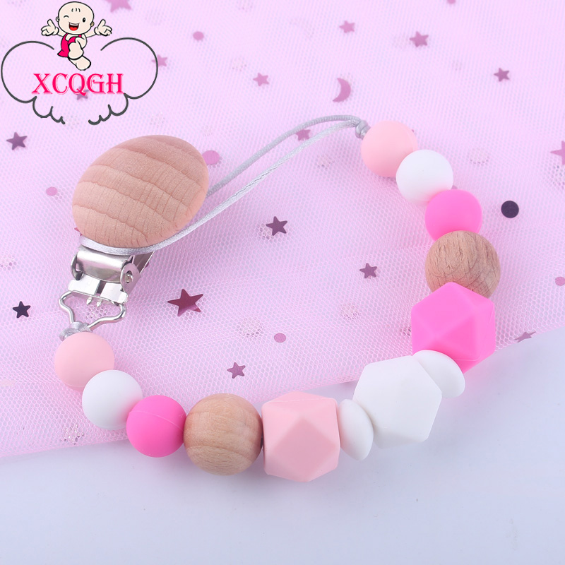 XCQGH 1pcs  Baby Pacifier Clip Holder Dummy Clips Silicone Teething Nipples Holder Wood Baby Feeding Soother Leash Strap