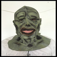 Hot Sale Adults Horror Green Alien Halloween Mask Latex Party Mask Parasite Zombie Mask Masquerade Scary Mask Free Shipping
