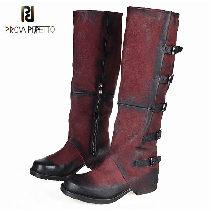 Prova Perfetto Original Brand Top Sale Sheepskin Square Toe Woman Boots Do The Old Buckle Strap Look Thin Knee-high Boots RetroProva Perfetto Original Brand Top Sale Sheepskin Square Toe Woman Boots Do The Old Buckle Strap Look Thin Knee-high Boots Retro