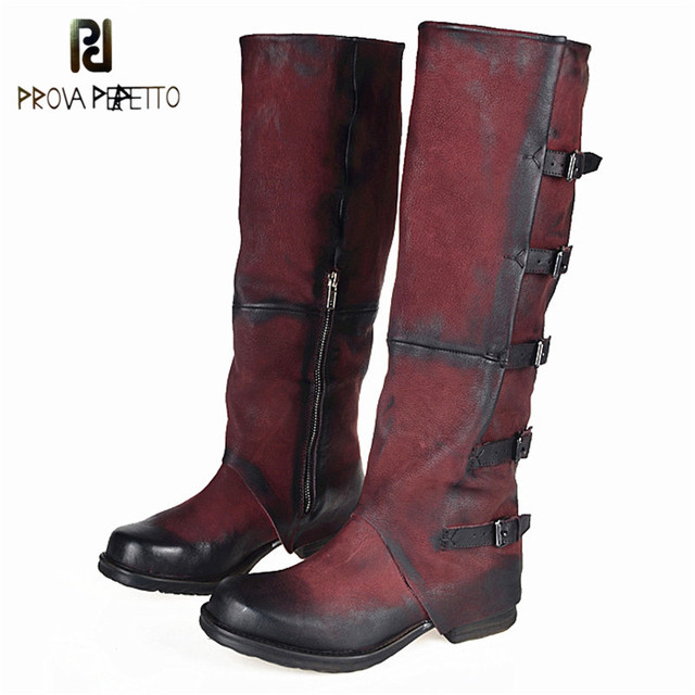 Prova Perfetto Original Brand Top Sale Sheepskin Square Toe Woman Boots Do The Old Buckle Strap Look Thin Knee-high Boots Retro