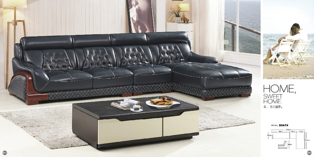 Enjoyable Cheers Barcelona Black And Big White Stitching L Shaped Modern Design Sectional Soft Cow Leather Sofa Set Living Room Furniture In Living Room Sofas Dailytribune Chair Design For Home Dailytribuneorg
