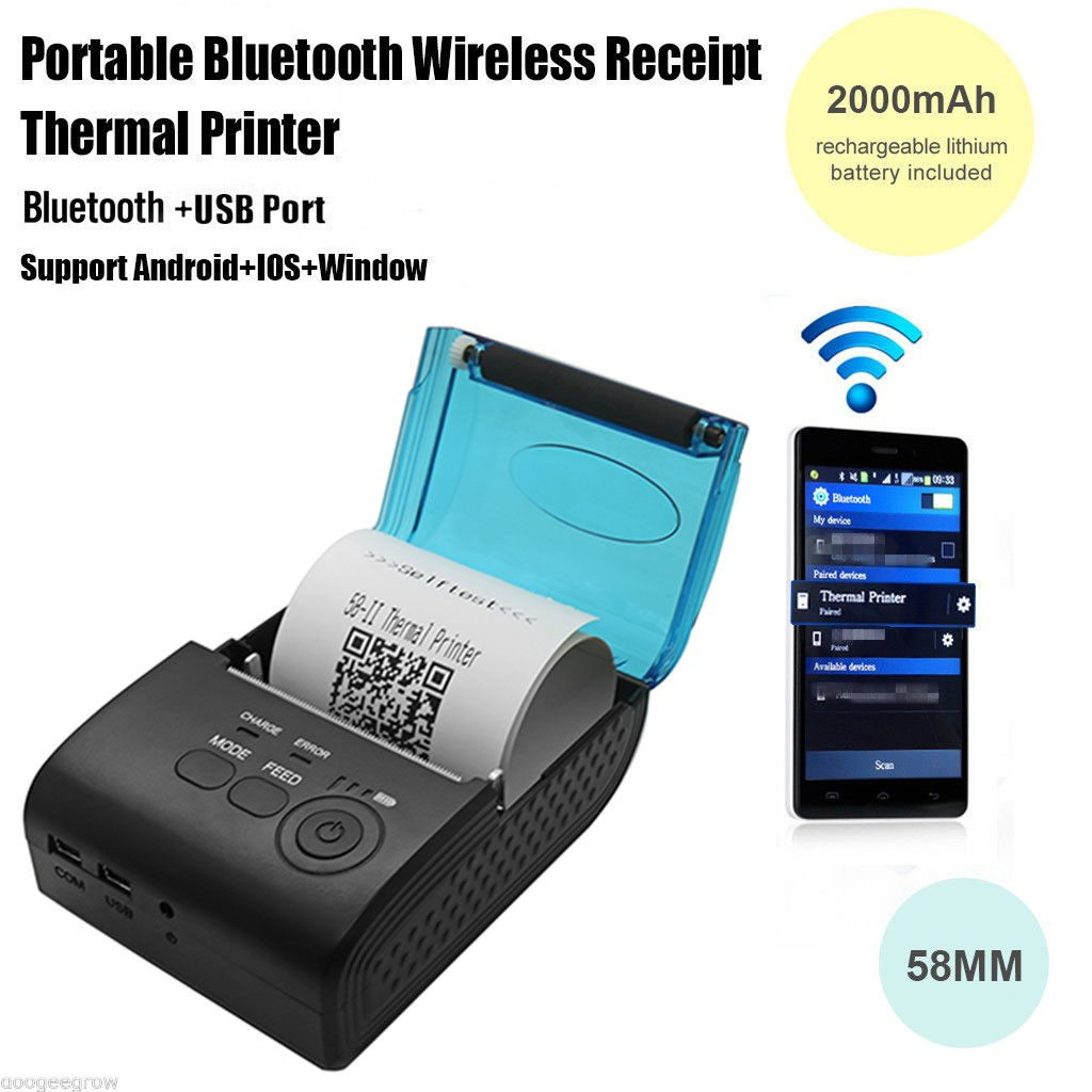 ФОТО Mini Wireless 58mm Portable Bluetooth Thermal Receipt Printer for Android/IOS Mobile