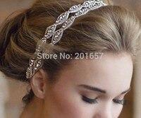 2016 yeni Toptan ve Perakende moda çift el yapımı kristal boncuk gelin düğün parti elastik hairband saç aksesuarları