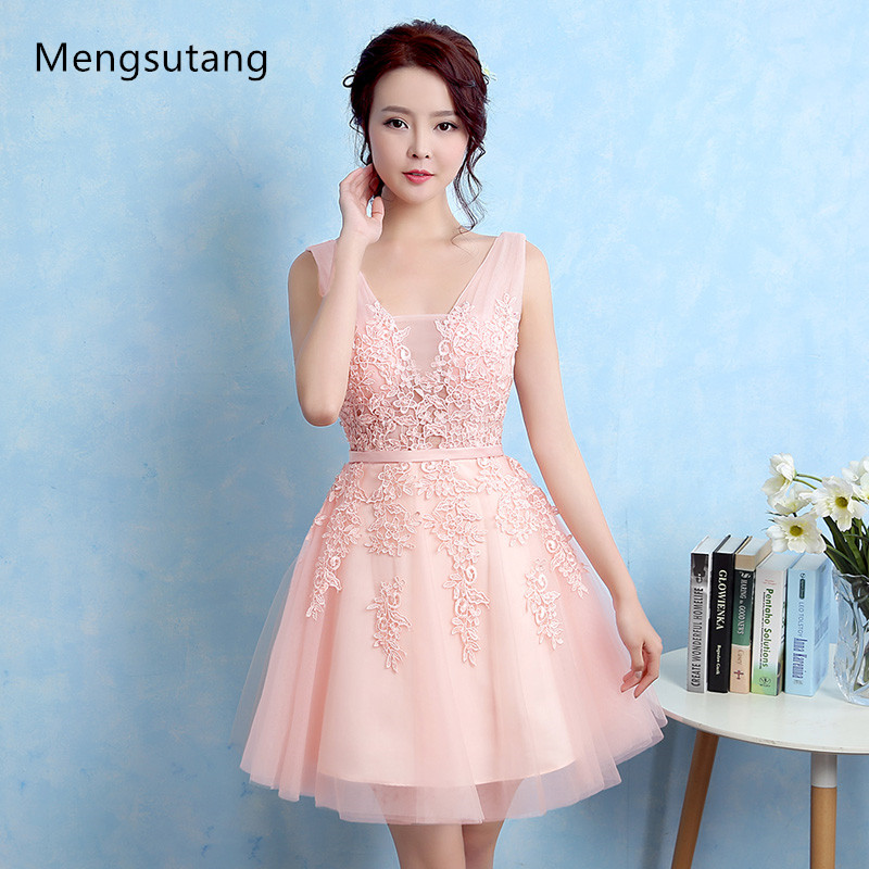 Robe De Soiree 2018 New short lace sleeveless V-Neck pink Bridesmaid Dress ever pretty Plus Size ombre dress Party Prom Dress
