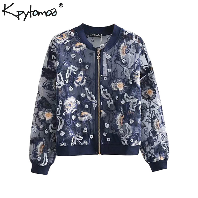Vintage Floral Embroidery See Through Bomber Jacket Women Coat 2020 New Fashion Zipper Streetwear Outerwear Casual Casaco Femme