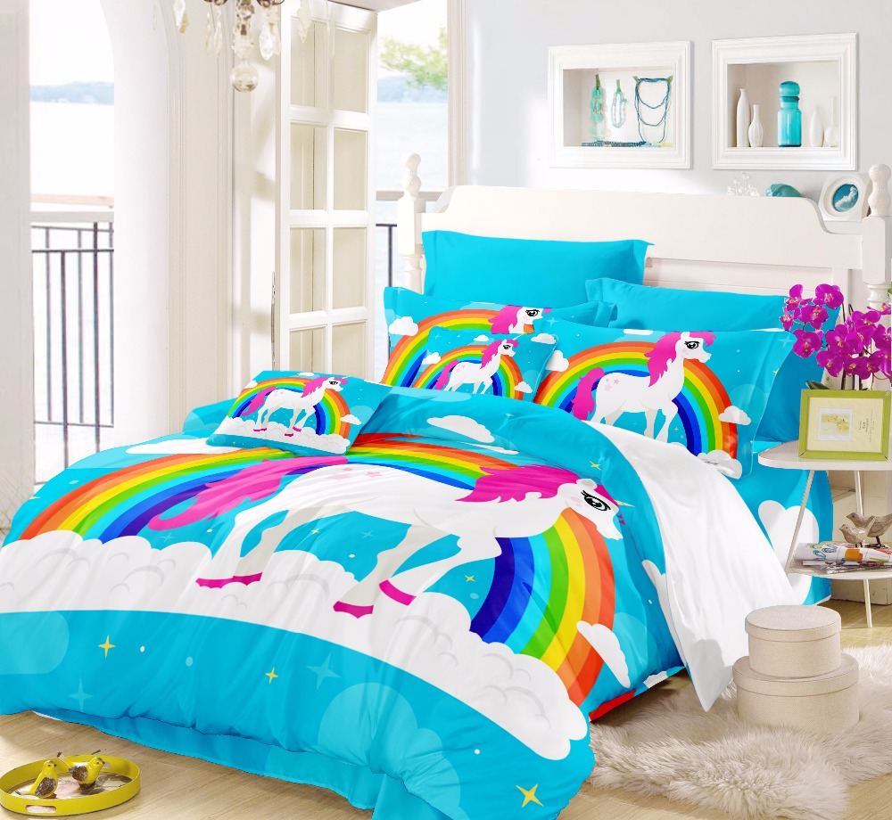 Horse Comforter Sets Twin Rainbow Unicorn Smart Duvet Teen Bedding Sets Children Bedding For Girl Full Queen Size For Kids F