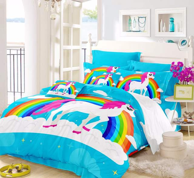 US 32 OFF Horse Comforter Sets Twin Rainbow Unicorn Smart Duvet Teen Bedding Sets Children Bedding For Girl Full Queen Size For Kids F In