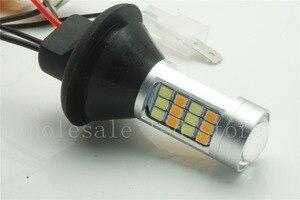 Image 3 - 2 pcs T20 7440 LED כפול צבע לבן/צהוב Switchback LED DRL הפעל אות אור שגיאת Canbus חינם