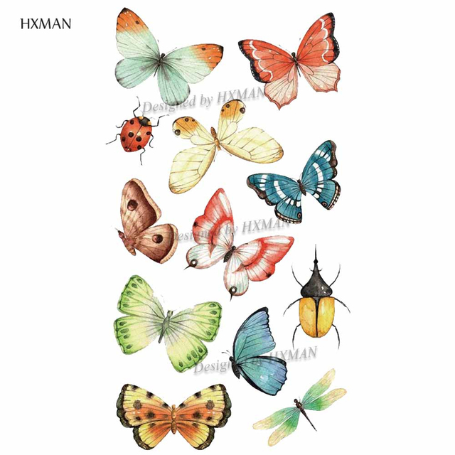 HXMAN Watercolor Butterfly Temporary Tattoo Sticker Waterproof Women Fake Tattoos Men Children Body Art Hot Design 9.8X6cm A-001 4