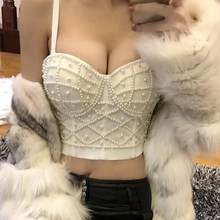 Gorgeous beading Jewel Pearls Diamond Mesh Breath Push Up 2019 New Bralet Women's Bustier Bra Cropped Top Vest Plus Size w1167(China)