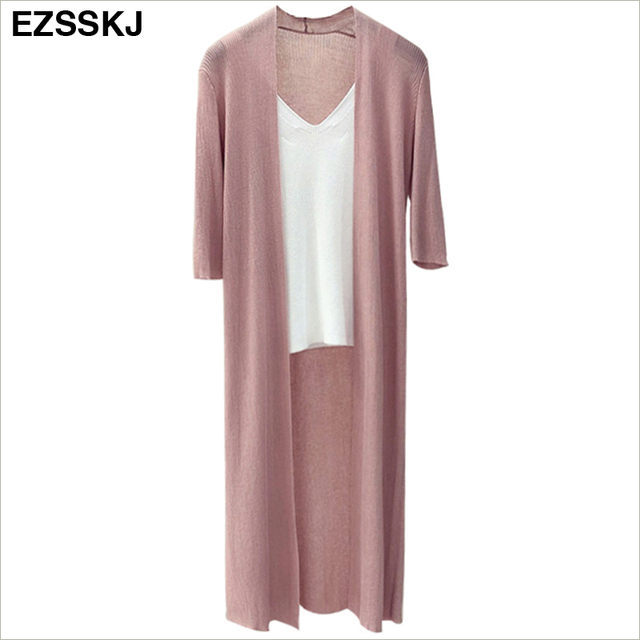 spring Summer Kimono knit long Cardigan Women Loose Long Blouses Shirt Beach Shirts Sunscreen Clothing  female casual thin coat