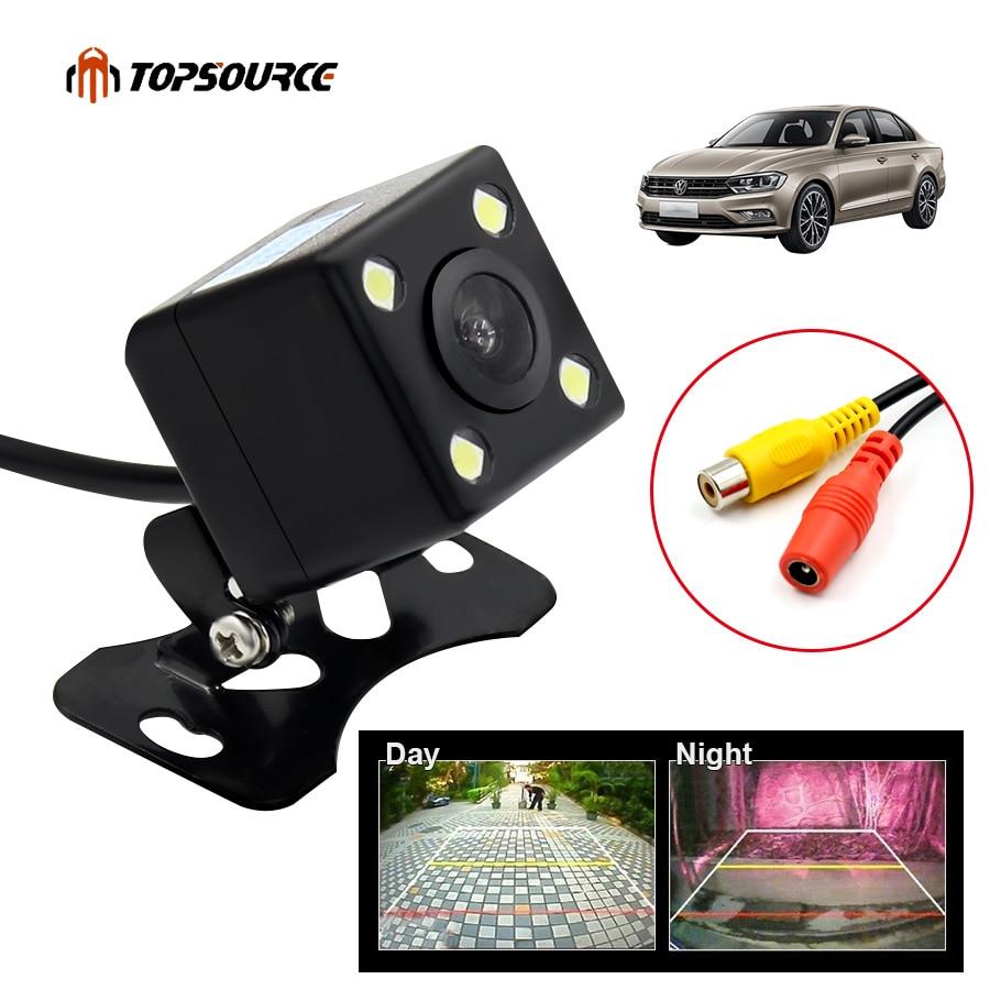 TOPSOURCE Car Back Reverse Camera Car Rear View Camera 130 Degree Waterproof HD 4 LED RCA