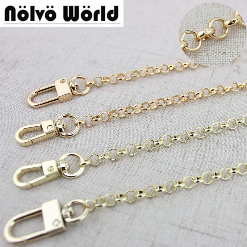 1 Piece 60-130cm Gold /Light Gold 6mm O Chain Metal Chain Shoulder Crossbody Strap For Small Handbag Purse Bag Replacement