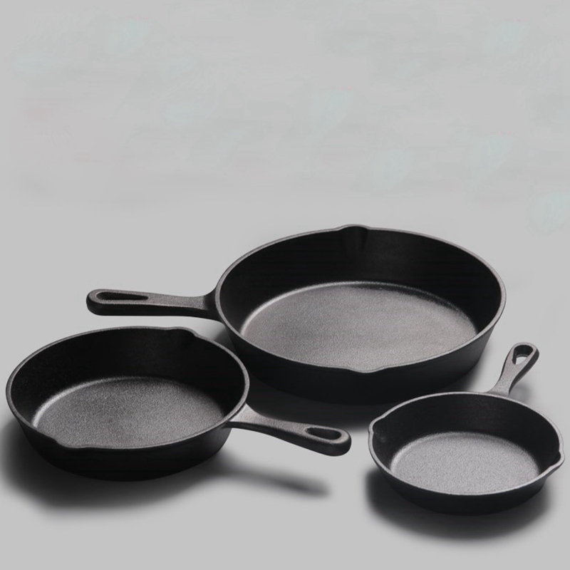 WHISM 14/16/20cm Cast Iron Frying Pan Non-stick Egg Pancake Cooking Pot Wok For Gas And Induction Cooker Kitchen Tool
