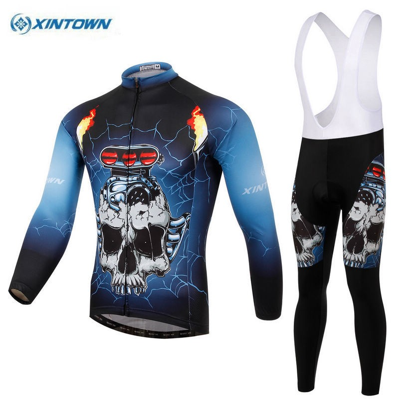 Xintown 2017 Men Cycling Long Jersey Set Bike Bib Shorts Padded Ropa Ciclismo Bicycle Long Clothing Sets Wear Breathable S basecamp cycling jersey long sleeves sets spring bike wear breathable bicycle clothing riding outdoor sports sponge 3d padded