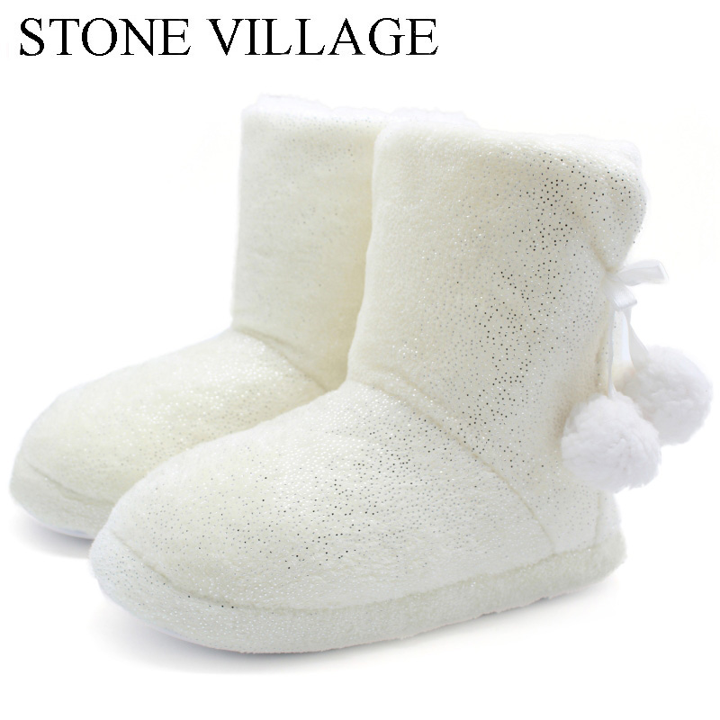 STONE VILLAGE Drop Shipping Solid Plush Ball Winter Home Slippers Cotton Soft Thick Plush Slippers Non-Slip Women Slipper Shoes