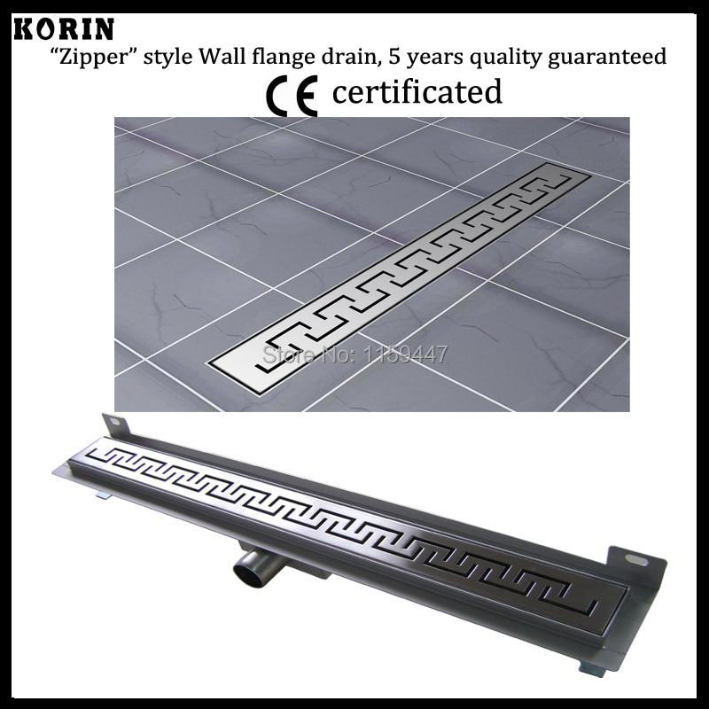 "600mm ""ZIPPER"" Style Stainless Steel 304 Linear Shower Wall Drain/Horizontal Drain/Linear Shower Channel Wall Flange Drain"