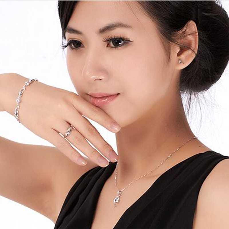OMHXZJ סיטונאי אופנה ג 'וקר פשוט דולפינים אוהבי זוג 925 סטרלינג כסף פתוח להתאים נשי לאישה איש טבעת מתנה RG06