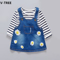 VTREE Girls 2pcs Set Suspender Dress+TShirt Baby Girl Jeans Flower Dresses+Striped T Shirts Demin Dress Children Clothes