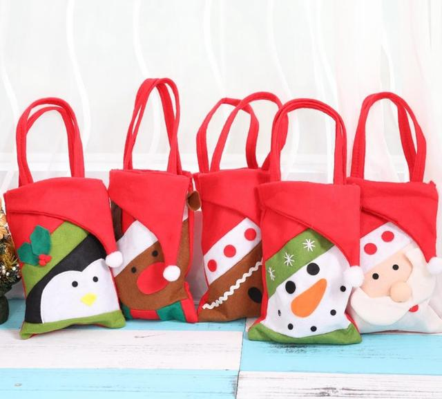 christmas tote bag gift holders holiday new year candy bag santa reindeer snowman gift bags present