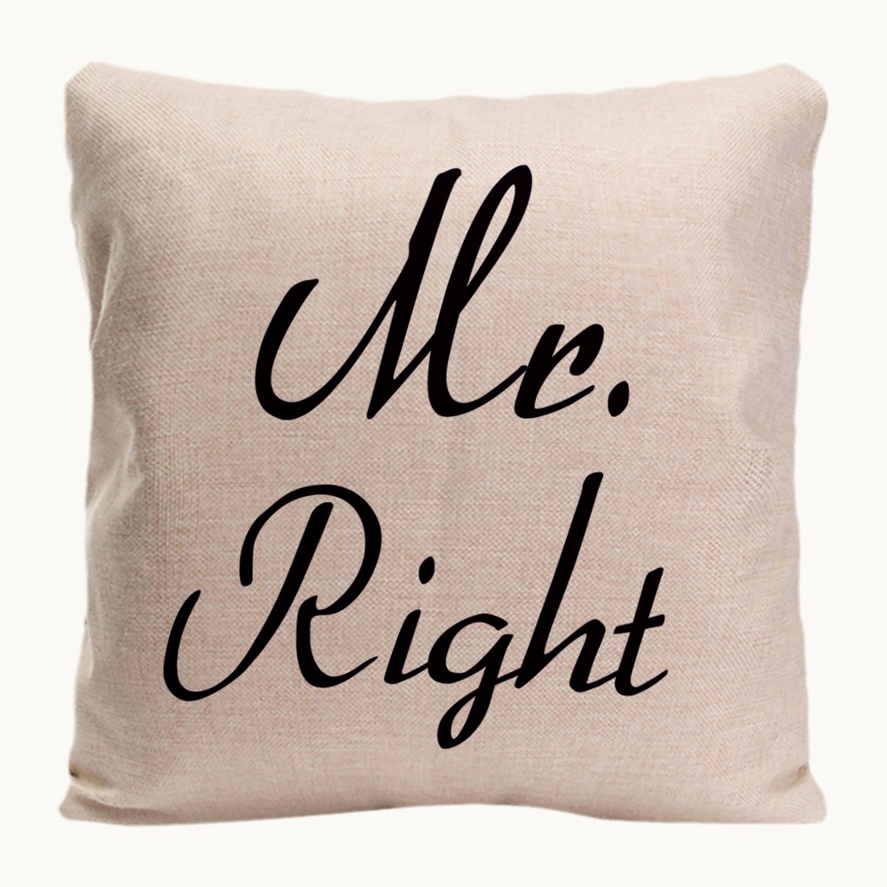 Mr. Right Mrs. Always Right Kussenhoes Home Decoratieve kussensloop - Thuis textiel - Foto 4