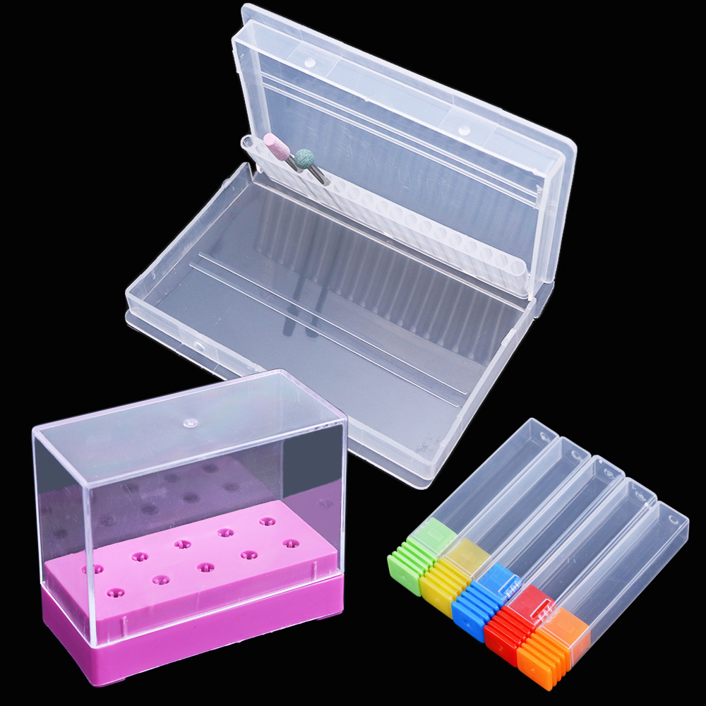 5/10/20 Holes Nail Drill Bits Storage Box Display Stand Multi Design Acrylic Holder Container Case Manicure Nail Tools JI867