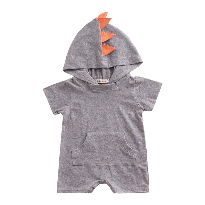 Summer Baby Boys Rompers Infant Toddler Short Sleeve Hooded Jumpsuits Baby Boys Outfits Clothes Dinosaur shape Baby Clothing in Rompers from Mother Kids