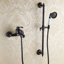 Cuarto de baño Vintage niquelado cepillado negro latón Simple ducha montado en la pared ducha baño grifo mezclador grifo 3 funciones Válvula mezcladora