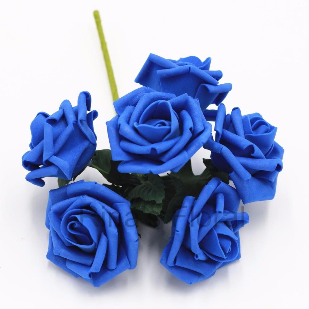 Online Shop 72 Royal Blue Flowers Fake Roses Bulk Flowers For