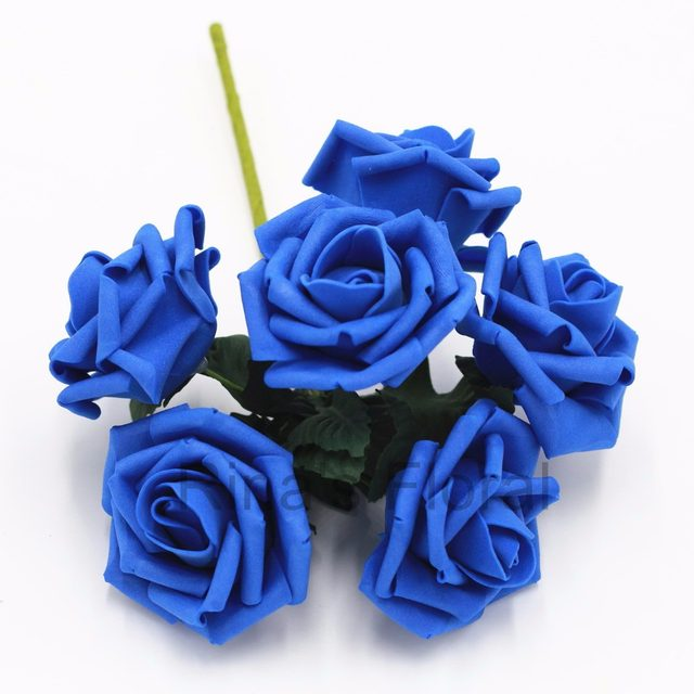 Online Shop 72 Royal Blue Flowers Fake Roses Bulk Flowers For ...